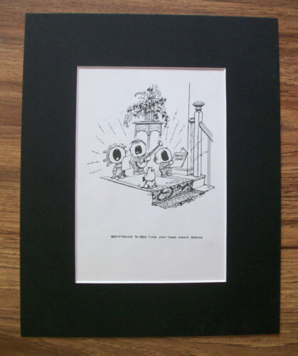 Child Dog Cartoon Print Norman Thelwell Bedtime Protest Bookplate 1977 Matted
