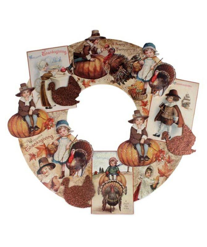 "Bethany Lowe Large 20"" Thanksgiving Die Cut Wreath RL6843 New"