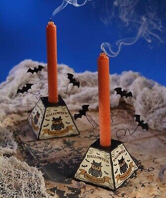 Bethany Lowe Set of 2 Halloween Tin Candle Holders TF6134 New Owls and Bats