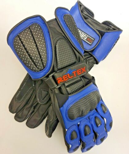 RELTEX+BLUE+Pro+Vented+Sports+Biker+CE+Leather+Motorbike+Motorcycle+Gloves+SMALL
