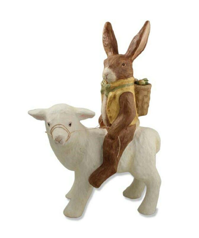 "Bethany Lowe Large 19"" Paper Mache Rabbit On Lamb TJ4209 New"