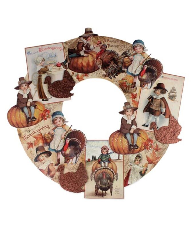 "Bethany Lowe Large 20"" Thanksgiving Die Cut Wreath RL6843 New"