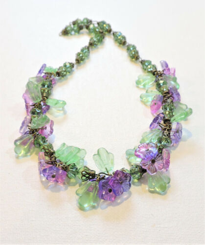 Vintage Pink Purple Flowers Lampwork Art Glass Bead Necklace JL21BN116