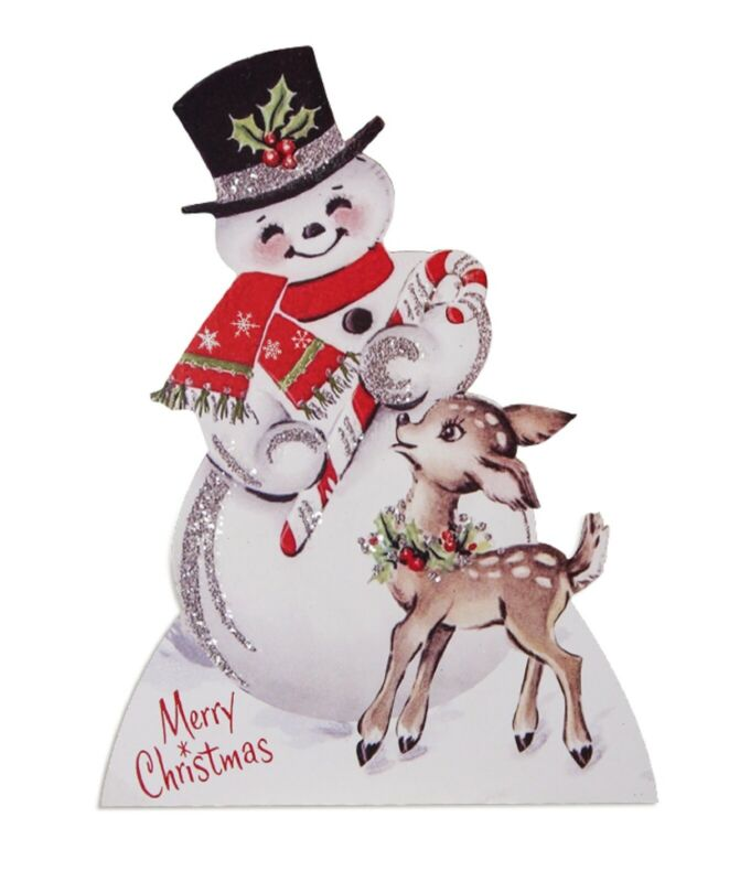 Bethany Lowe Sparkle Snowman With Deer Dummy Board RL9825
