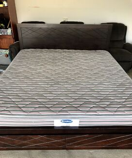 King Bed Frame with Mattress and 2 Drawers