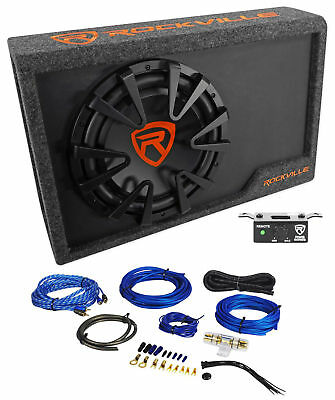 Rockville Rws12ca Slim 1200 Watt 12  Powered Car Subwoofer Enclosure   Wire Kit