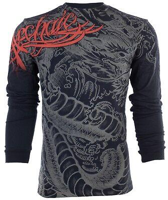 ARCHAIC by AFFLICTION Mens LONG SLEEVE T-Shirt DRAGON RAGE Biker Black $58 Dragon Mens T-shirt