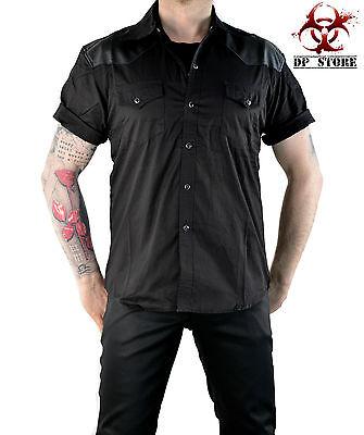 LDS GOTH PUNK FETISH VAMPIRE VEGI LEATHER SHOULDERS ROCK ROCKABILLY SHIRT BIKER Casual Button-Down Shirts