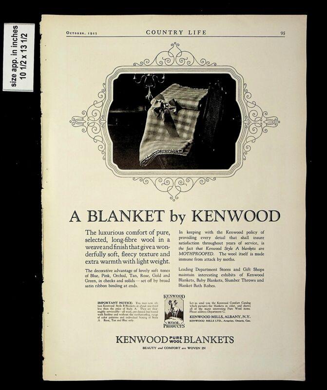 1925 Blanket by Kenwood Pure Wool Vintage Print ad 015191
