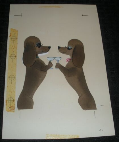 "HAPPY ANNIVERSARY Cartoon Dogs Toasting Champagne 6x9"" Greeting Card Art #7174"