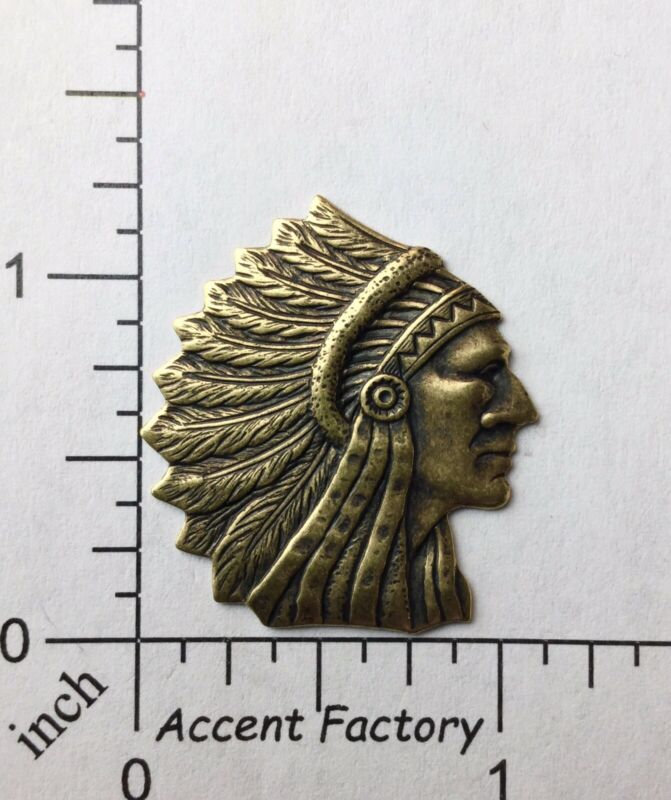 39213 American Indian Head Jewelry Finding Brass Oxidized