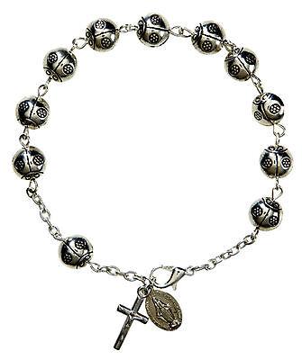 Lady Bug Rosary Bracelet with Magnificat Prayer Card NEW Legend of Lady Bug