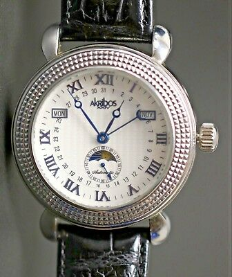 Akribos XXIV Stainless Steel Automatic Men's Watch Day Date Month Roman Numerals
