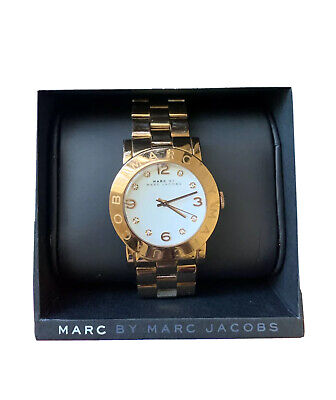Marc Jacobs MBM3077 White Dial Rose Gold-Tone Stainless Steel Ladies Watch