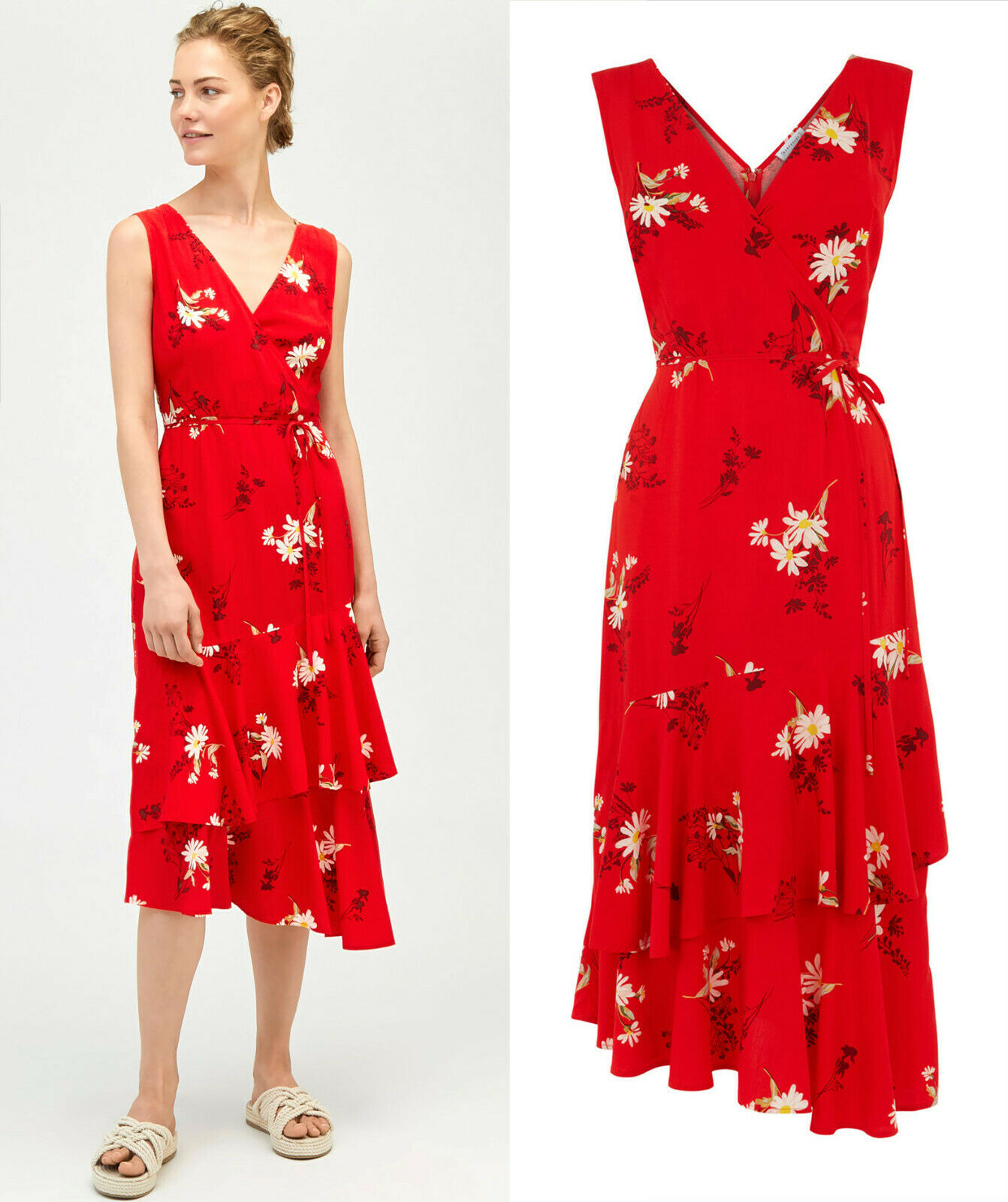 408fbeec20de6 Details about Warehouse New Yellow & White Daisy Floral Midi Wrap Summer  Dress in Red 6 to 16