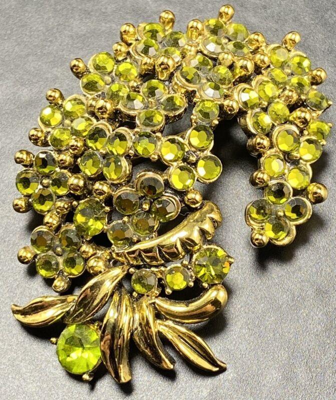 "HOLLYCRAFT 1954 Vintage Brooch Pin 3"" Green Flower Cluster Crystal Rhinestones"