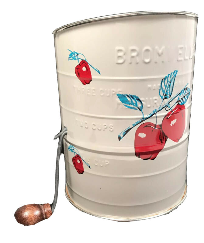 Vintage Kitchen Utensil Bromwell 3 Cup Apple Design Flour Sifter Farmhouse Decor
