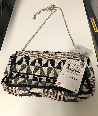 NWT ZARA multi color crossbody bag with beading metallic details chain strap P4