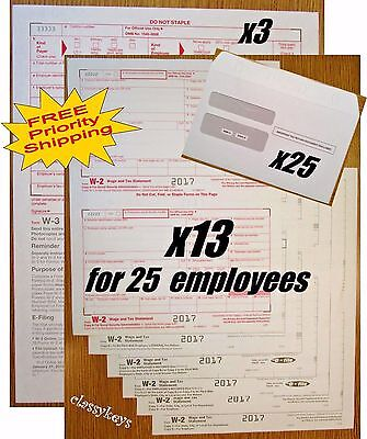 2017 Irs Tax Forms Kit   W 2 Wages 6 Pt Laser For 25 Employees   W 3   Envelopes