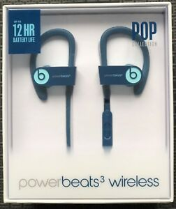 New Beats Powerbeats 3 Wireless Headphones Blue POP Collection