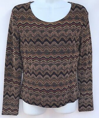 Join Me From Canada Multi Colored Stretch Textured Long Sleeve Knit Top Sz  M