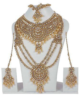 5120 WT Designer Bollywood Gold Plated Jewelry Indian Kundan Bridal Necklace Set