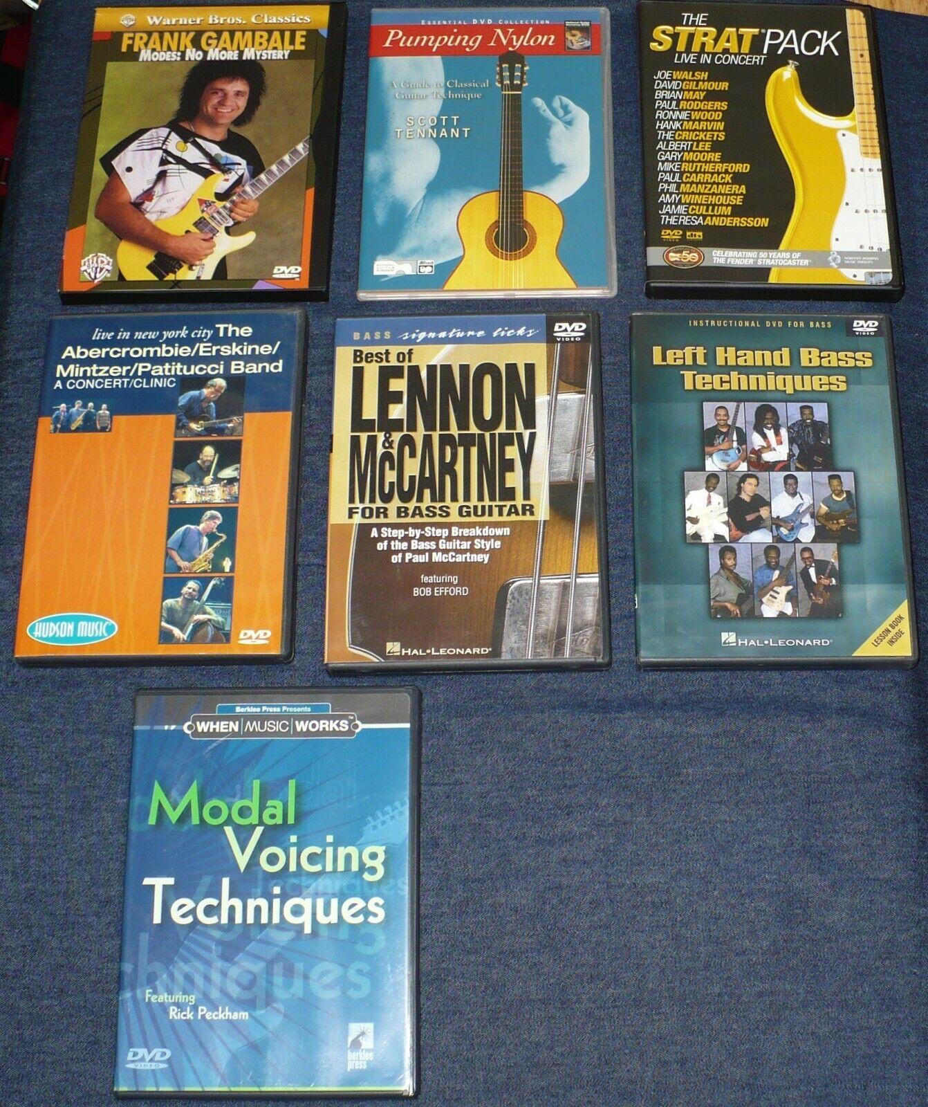 LOT 7 ROCK BASS GUITAR INSTRUCTIONAL DVDs LENNON McCARTNEY LEFT HAND VOICE TECH - $10.49