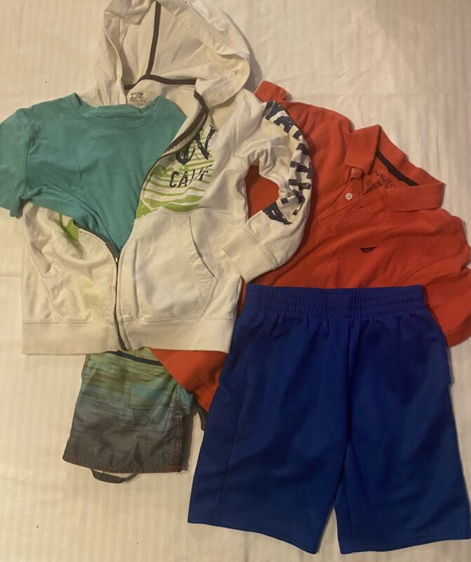 Boys Youth Size 8- Lot Of 5 - Shirts, Shorts, & Nautica Hoodie Size 8- Summer