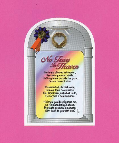 """No Tears In Heaven"" Memorial Poem Verse Card w/ Heart Penny - SKU# 710"