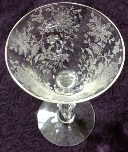 2 Cambridge WILDFLOWER CLEAR Etched Crystal  Liquor Cocktail Glasses 1939-1958