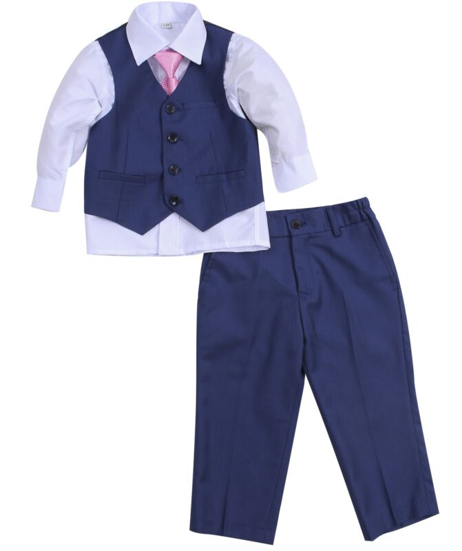 Baby Boy Christening Formal Wedding Tuxedo 4pc Navy Suit Set with Tie Free P+P