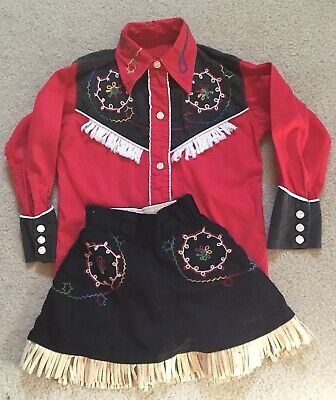 Western Cowgirl Outfit (Vintage 1950's 2 Piece Western Cowgirl Outfit Embroidered Fringe Skirt Shirt)
