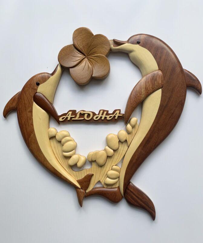 Hawaii Island Wood Collections Wall Decor Dolphins Aloha Beach Nautical