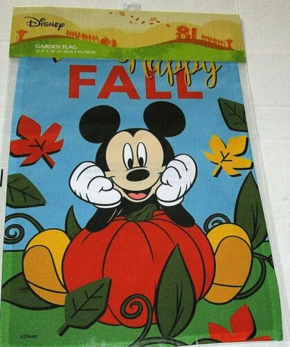 """DISNEY GARDEN FLAG 12.5""""x 18""""  HAPPY FALL/MICKEY MOUSE LEANING ON A PUMPKIN"""