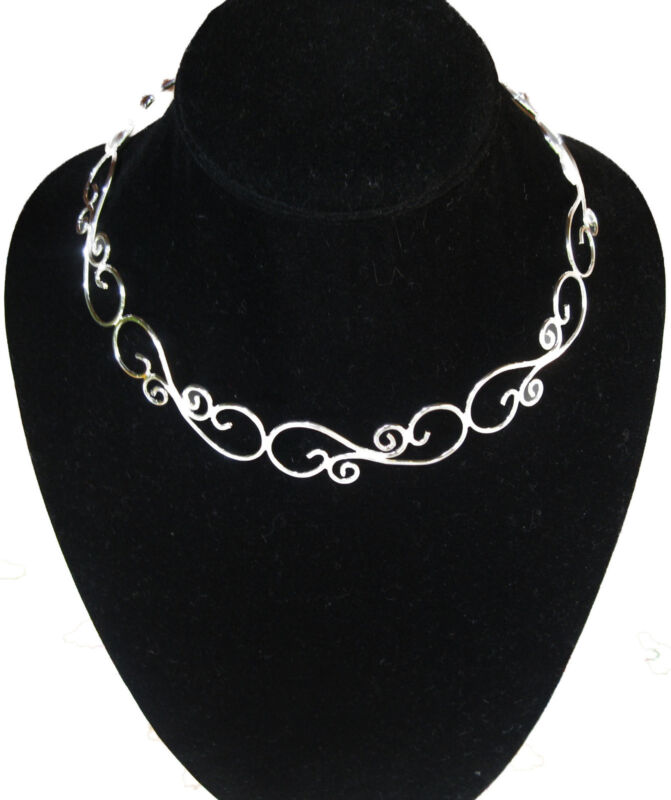 New Silver Lacy Filigree Choker Collar Necklace Wire (CH12)