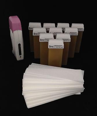Set Wachsgerät,10 Wachspatronen Honig,100 Vliesstreifen,Warmwachs,Haarentfernung