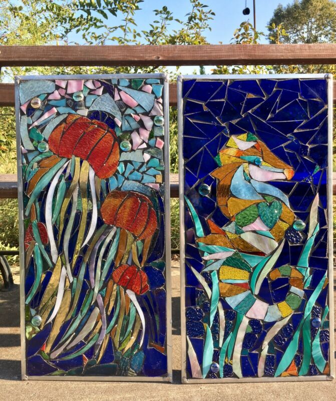 Stained Glass Mosaic Panels Jellyfish Seahorse Ocean Window