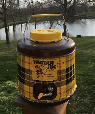 Vintage TARTAN JUG Hot Cold Fiberglass Insulated Glass-lined Cooler Thermos