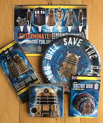 DR WHO DALEK TARDIS Super Party Pack: Plates Napkins Straws Cake Toppers & Cases