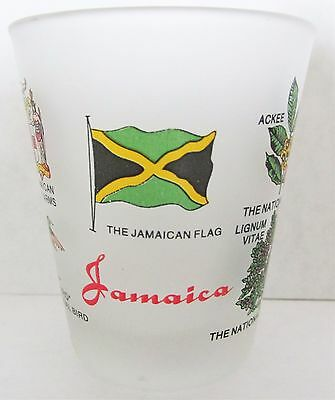 JAMAICA NATIONAL FLAG, COAT OF ARMS, BIRD AND MORE FROSTED SHORT SHOT GLASS