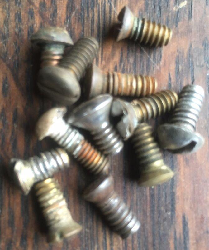 (12) Twelve Brass & Steel Threaded Door Knob Set Screws for Antique Doorknobs