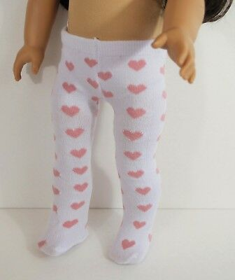 Tights White Pink Hearts For 18 in American Girl Doll Accessories Valentine Gift - Valentine Accessories
