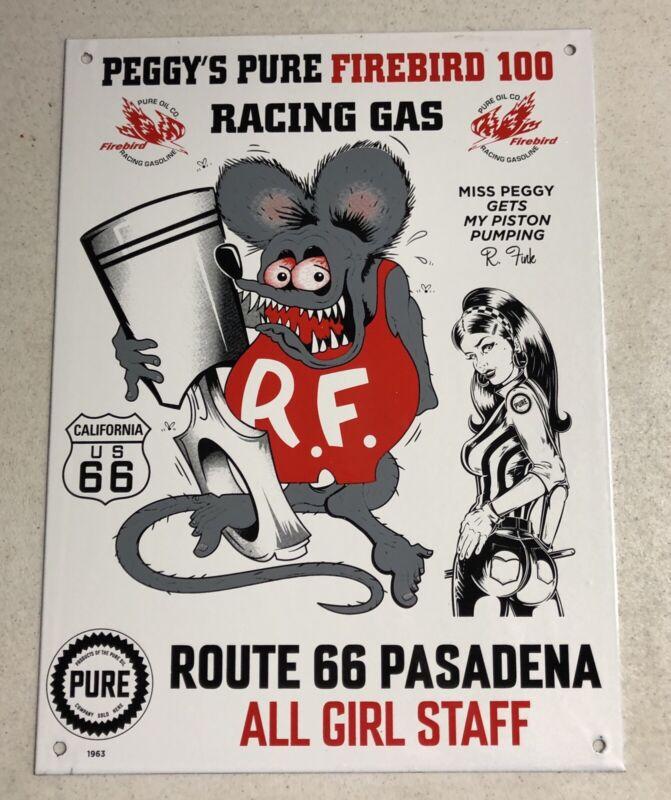 "OLD VINTAGE 16"" PEGGY'S PURE ROUTE 66 RAT FINK PORCELAIN SIGN GAS OIL"