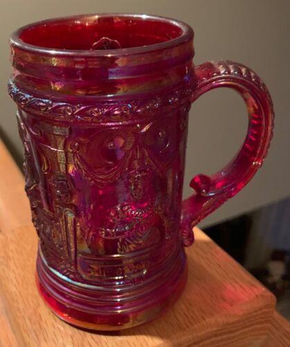 "Westmoreland Glass Red Carnival Glass 4 3/4"" Victorian Queen Stein Mug Tankard(s"