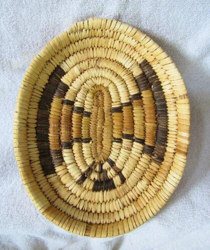 Papago Indian Hand Coiled Woven Basket Eagle Bird Thunderbird Design Yucca