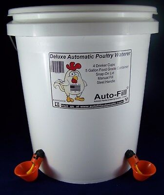 5.0 Gallon Automatic Waterer 4 Drinker Cup Chicken Poultry Hen Coop Bird Water