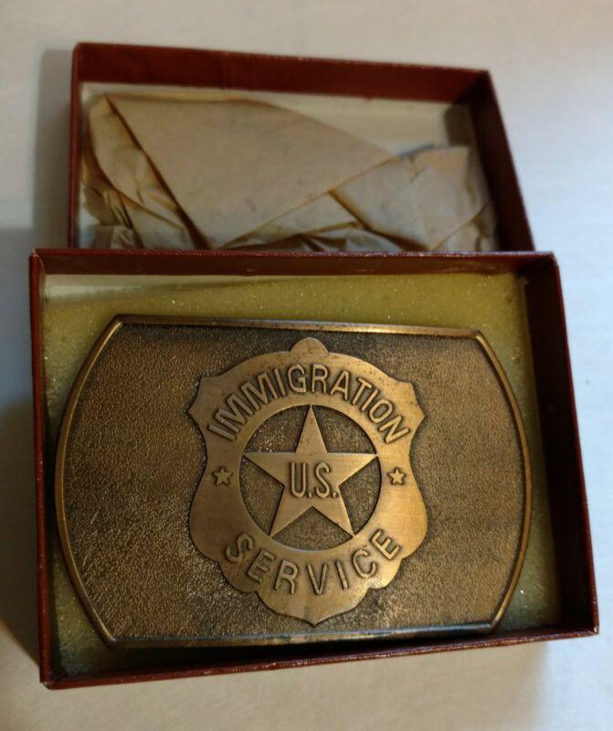 Vintage -- US IMMIGRATION SERVICE Belt Buckle -- Brass RARE