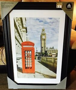 Large London phone booth picture - brand new espresso wood frame