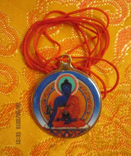HEALING TIBETAN BUDDHIST MEDICINE BUDDHA & KALACHAKRA PENDANT NECKLACE RED CORD
