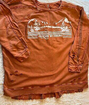 Free People Jackson Wyoming Graphic Shirt Tunic Distressed Red Orange Sz L -